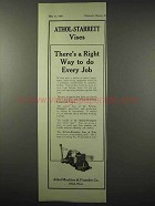 1922 Athol-Starrett Vise Ad - Right Way to Do Every Job