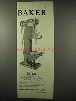 1922 Baker No. 121 Drilling and Boring Machine Ad