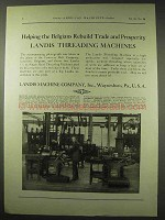 1922 Landis Threading Machine Ad - Helping Belgians