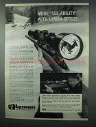 1962 Lyman Rifle Scope Ad - More See-Ability Optics