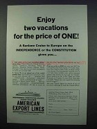 1962 American Export Lines Cruise Ad - Two Vacations