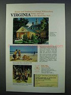 1962 Virginia Tourism Ad - Serene Colonial Williamsburg