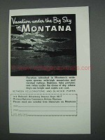1962 Montana Tourism Ad - Vacation Under the Big Sky