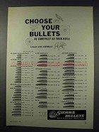1961 Sierra Bullets Ad - Choose Your Bullets Carefully