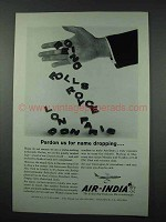 1961 Air India Ad - Pardon Us for Name Dropping