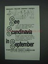 1961 Scandinavia Tourism Ad - See in September