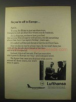 1963 Lufthansa Airlines Ad - So You're off to Europe