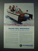 1963 Evinrude Outboard Motor Ad - Round-Trip Insurance