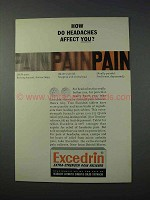 1963 Excedrin Medicine Ad - Headaches Affect You?