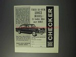 1963 Checker Car Ad - Looks Like Our 1962