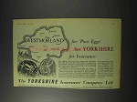 1959 The Yorkshire Insurance Ad - Westmorland Pace Eggs