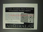 1959 Admiral Model 711 Radio Ad - Most Powerful
