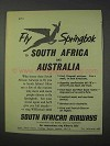 1959 South African Airways Ad - Fly Springbok