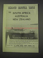 1959 Shaw Savill Line Cruise Ad - To South Africa