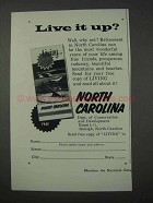 1959 North Carolina Tourism Ad - Live It Up?