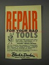 1959 Black & Decker Tools Ad - Repair For Your Tools