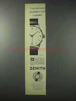 1958 Zenith Watch Ad - Precision as Well as Quality