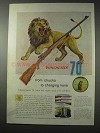 1958 Winchester 70 Rifle Ad - Chucks to Charging Lions