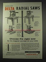 1958 Rockwell Delta Radial Saws Ad - Choose Right