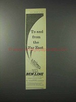 1958 Ben Line Cruise Ad - To and From the Far East