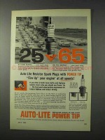 1958 Auto-Lite Power Tip Spark Plugs Ad - Fire Up