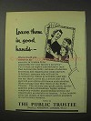 1958 The Public Trustee Ad - Leave Them in Good Hands