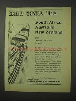 1958 Shaw Savill Line Cruise Ad - To South Africa