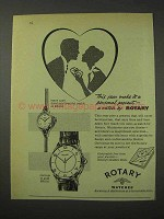 1958 Rotary Watch Ad - First Lady; Captain Watch