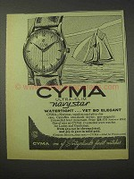 1958 Cyma Ultra-Slim Navystar Watch Ad