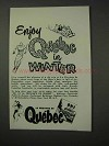 1958 Quebec Canada Tourism Ad - Enjoy in Winter