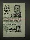 1958 Adolph's Salt Substitute Ad - On a Salt-Free Diet?