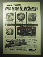 1958 Lyman 4-power All-American Rifle Sight Ad - Worth
