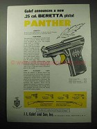 1958 Beretta Panther Pistol Ad - A New .25 Cal.
