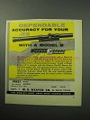 1958 Weaver Model B Scope Ad - Dependable Accuracy