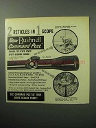 1958 Bushnell Command Post Scope Ad - 2 Reticles