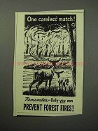 1958 Prevent Forest Fires Ad - One Careless Match!