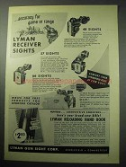 1957 Lyman Receiver Sights Ad - Accuracy for Game