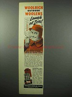 1956 Woolrich Outdoor Woolens Ad - Laugh at Zero