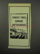 1956 Forest Fires Damage Watersheds Ad, Smokey the Bear
