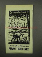 1956 Prevent Forest Fires Ad - One Careless Match