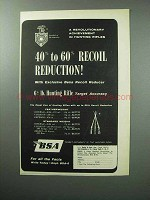 1957 BSA Rifle Ad - 40% to 60% Recoil Reduction