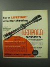 1957 Leupold Mountaineer Scope Ad - Better Shooting