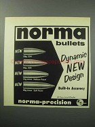 1957 Norma Bullets Ad - Dynamic New Design