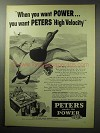 1955 Peters High Velocity Shotgun Shell Ad - Duck