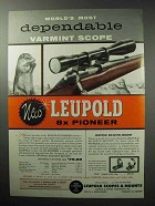 1955 Leupold 8x Pioneer Scope Ad - Most Dependable