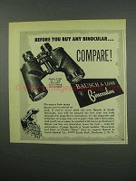 1954 Bausch & Lomb Binocular Ad - Before Buy Compare