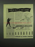 1954 Sierra Bullets Ad - Hunting With Target Accuracy