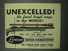 1954 Lyman Super-Targetspot Scope Ad - Unexcelled