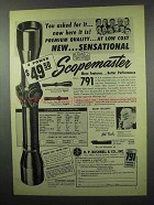 1953 Bushnell Scopemaster Scope Ad - Sensational