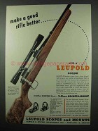 1953 Leupold 4x Pioneer Scope Ad - Remington 721B Rifle